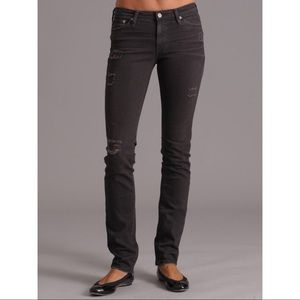 AG Premiere Destroyed Black Skinny Jeans